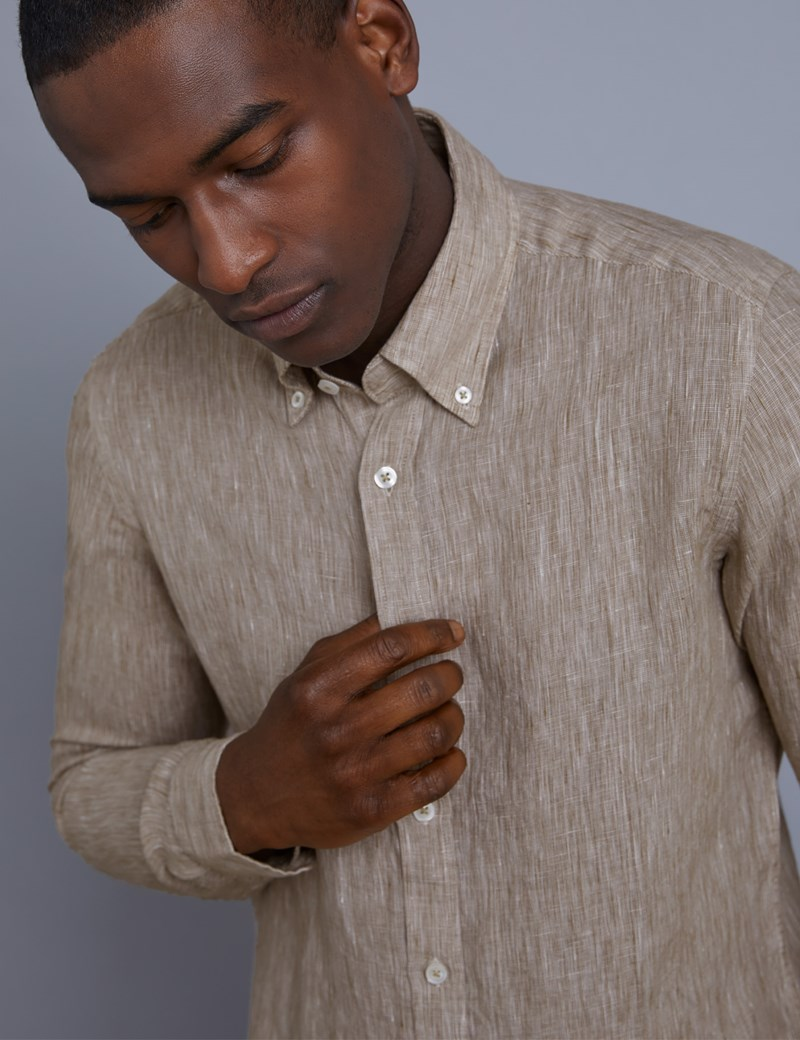 Men's Textured Khaki Slim Fit Linen Shirt - Single Cuff