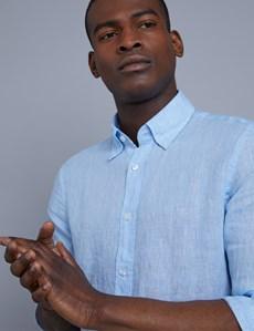 Men's Textured Blue Slim Fit Linen Shirt - Single Cuff