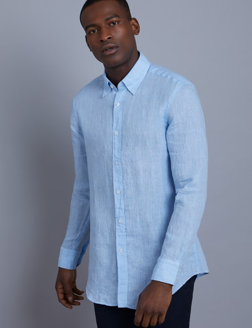 Men's Textured Blue Slim Fit Linen Shirt - Single Cuff
