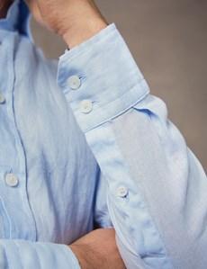 Button Down Hemd – Slim Fit – Leinen – Hellblau