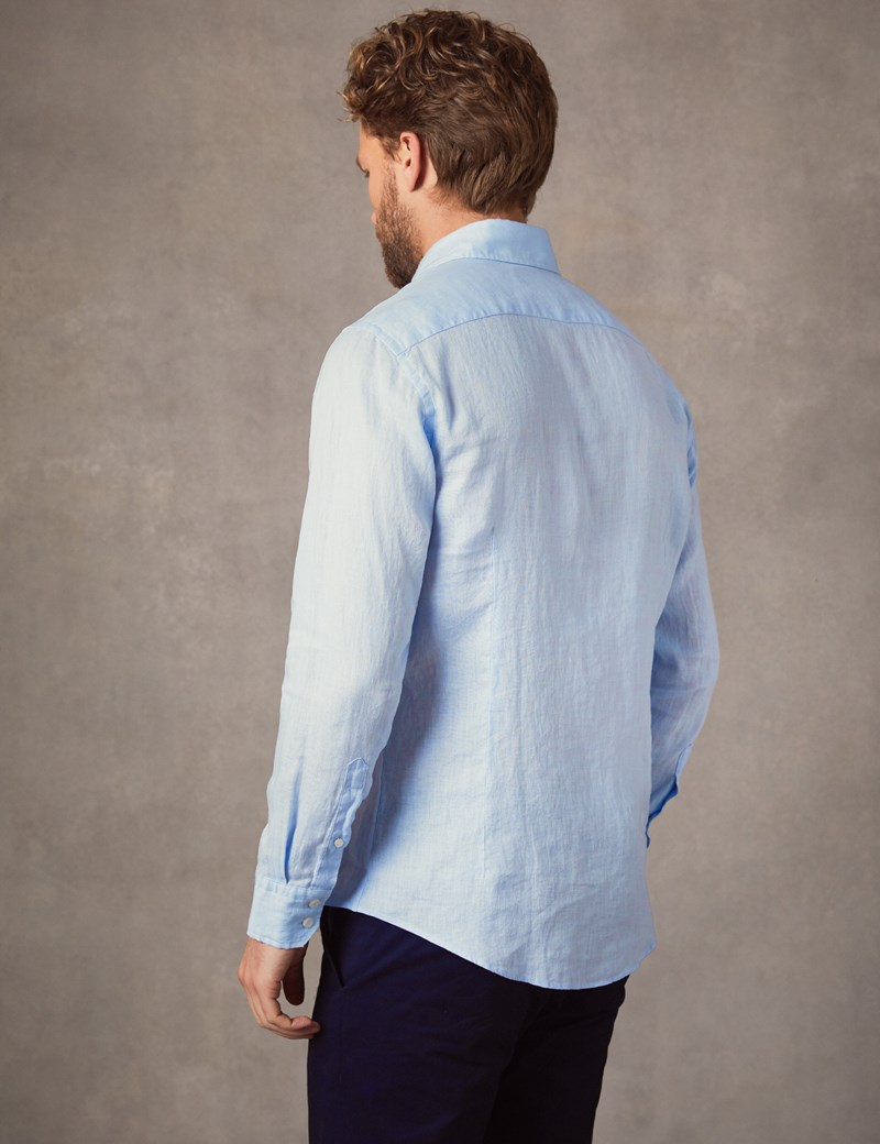Men's Light Blue Slim Fit Linen Shirt - Single Cuff