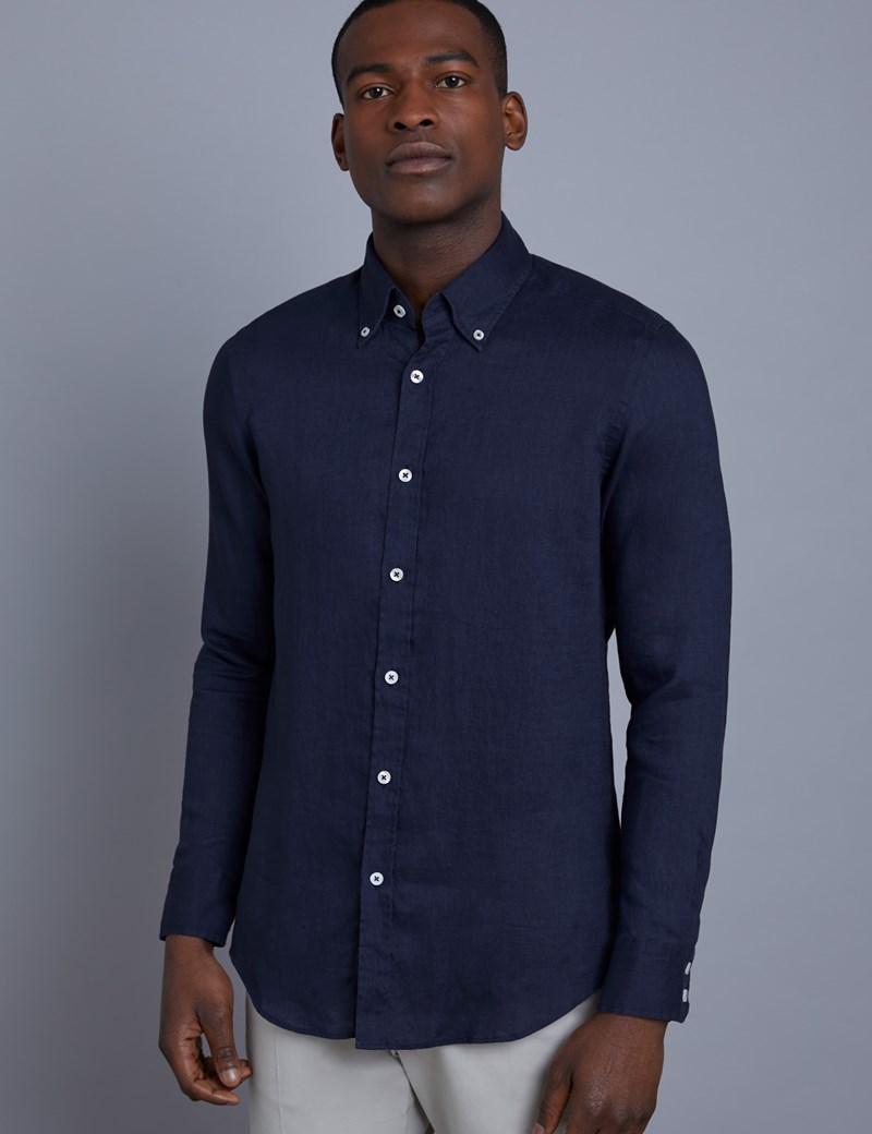 Men's Navy Slim Fit Linen Shirt - Single Cuff