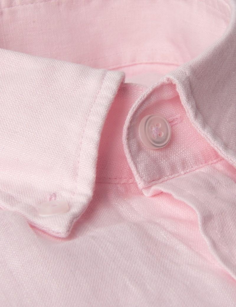 Button Down Hemd – Slim Fit – Leinen – Pink