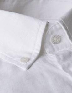 Men's White Slim Fit Linen Shirt - Single Cuff