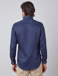 Men's Navy Slim Fit Linen Shirt - Single Cuff