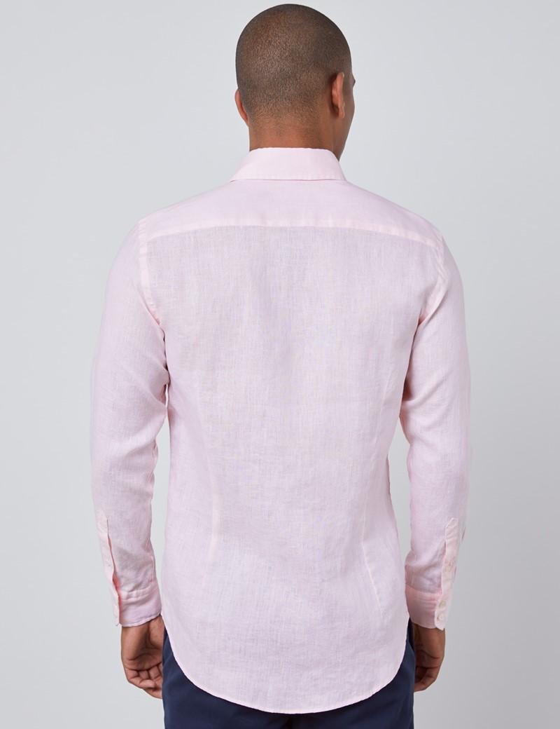 Men's Pink Slim Fit Linen Shirt - Single Cuff