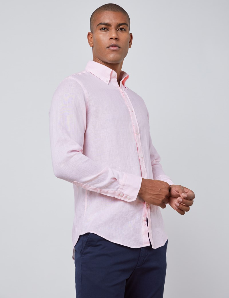 Men's Pink Slim Fit Linen Shirt - Single Cuff