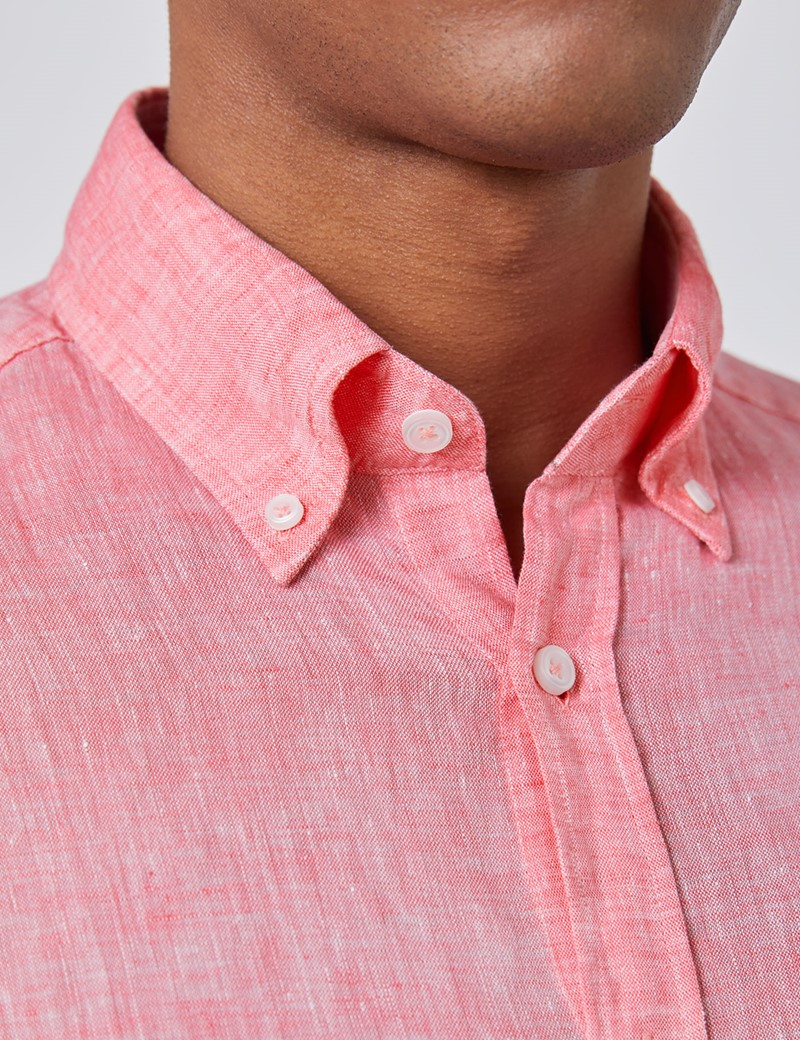 Men's Coral Pink Slim Fit Linen Shirt - Single Cuff