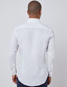 Leinenhemd – Slim Fit – Button-Down-Kragen – weiß
