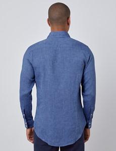 Leinenhemd – Slim Fit – Button-Down-Kragen – denim-blau