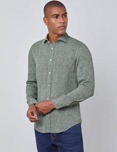 Men's Green Slim Fit Linen Shirt - Windsor Collar - Single Cuff