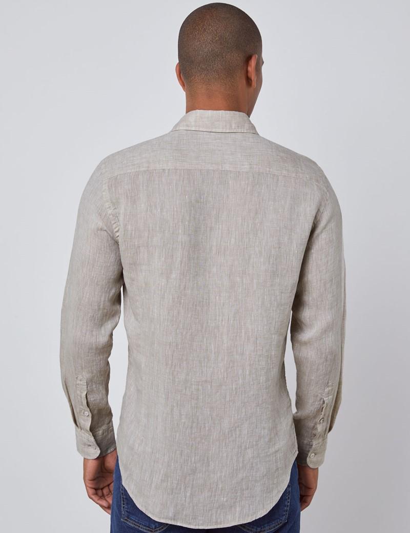 Leinenhemd – Slim Fit – Haifischkragen – beige