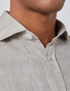 Men's Beige Slim Fit Linen Shirt - Windsor Collar - Single Cuff