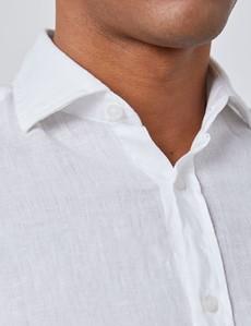 Leinenhemd – Slim Fit – Haifischkragen – weiß