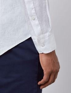 Men's White Slim Fit Linen Shirt - Windsor Collar - Single Cuff