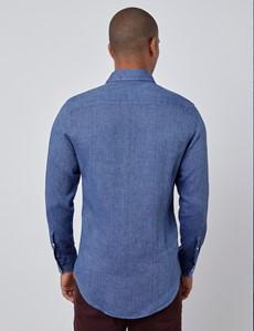 Men's Denim Blue Slim Fit Linen Shirt - Windsor Collar - Single Cuff