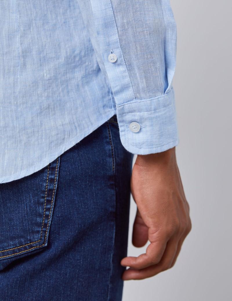 Leinenhemd – Slim Fit – Stehkragen – hellblau