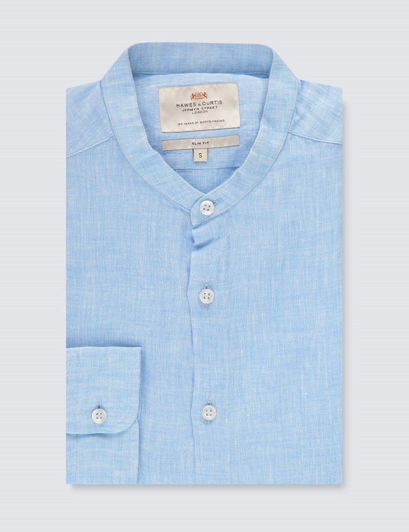Men's Blue Crew Neck Slim Fit Linen Shirt - Single Cuff