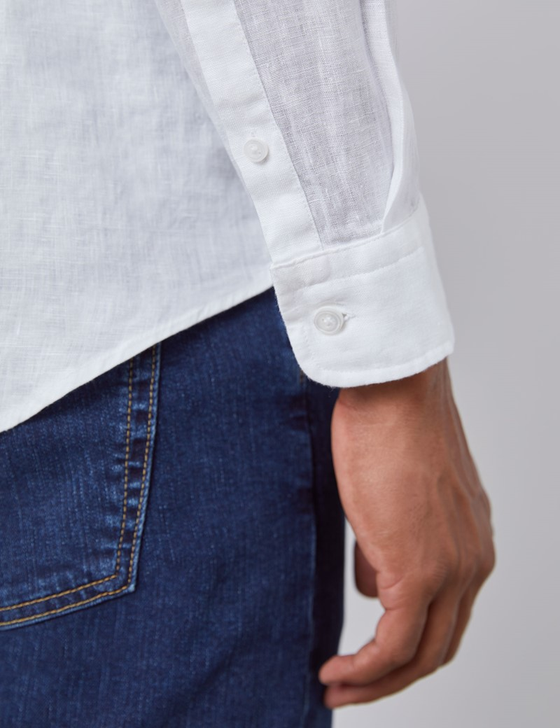 Leinenhemd – Slim Fit – Stehkragen – weiß