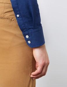 Men's Blue Slim Fit Linen Mix Shirt - Button Down Collar