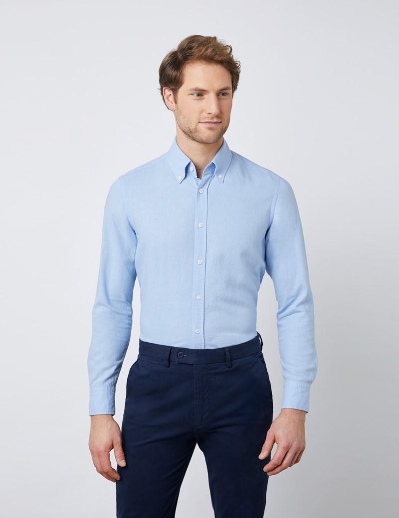 Men's Light Blue Slim Fit Linen Mix Shirt - Button Down Collar