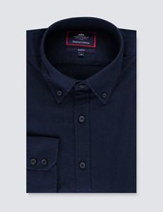 Men's Navy Slim Fit Linen Mix Shirt - Button Down Collar