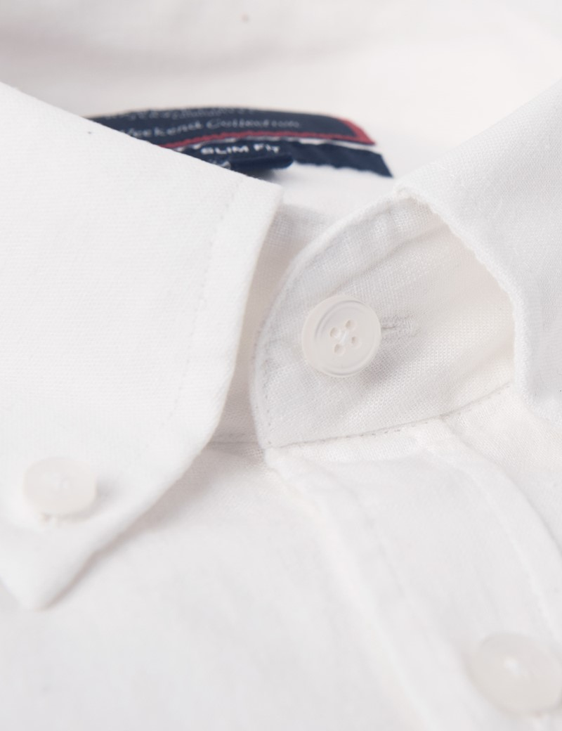 Men's White Slim Fit Linen Mix Shirt - Button Down Collar