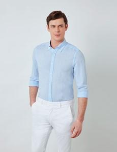 Men's Light Blue Linen Shirt With Button-Down Collar