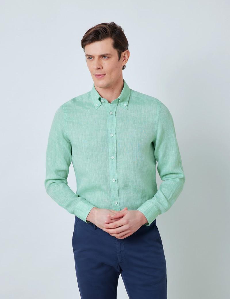 Men's Green Linen Shirt With Button-Down Collar