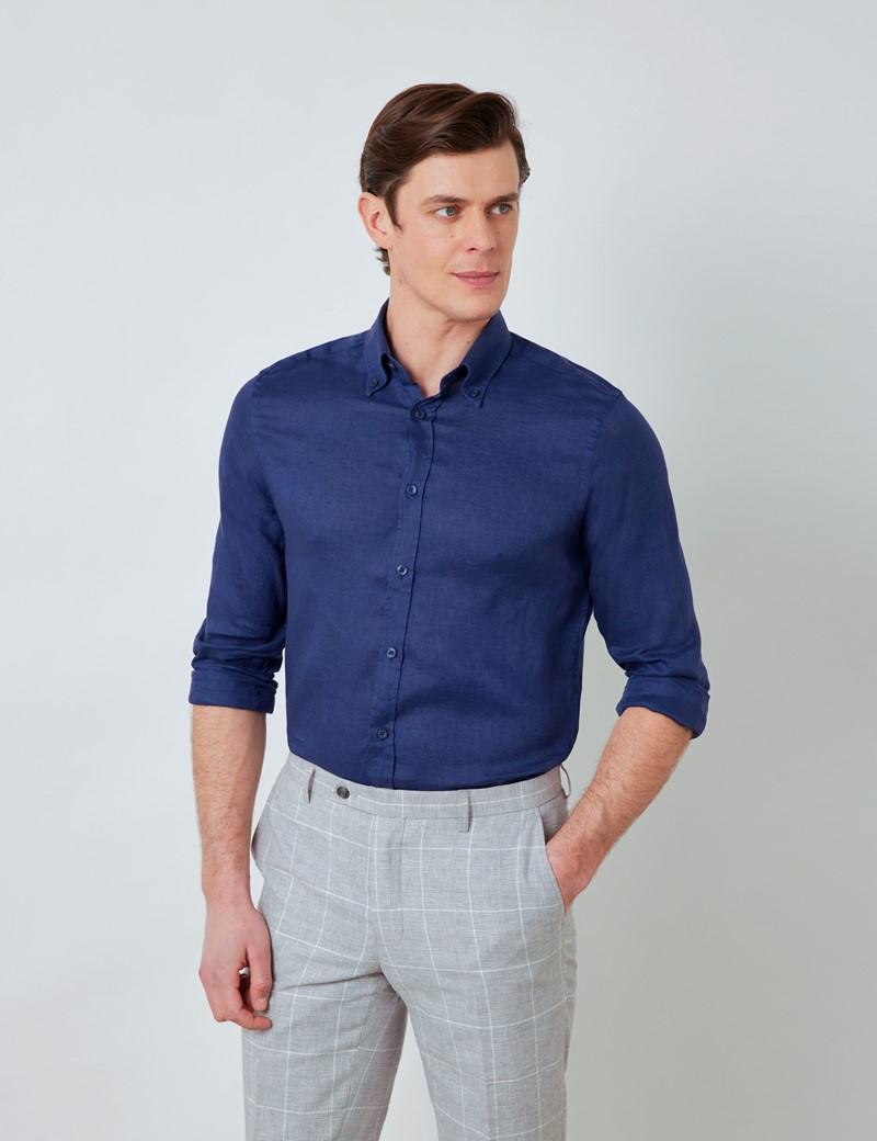 Men's Navy Linen Shirt With Button-Down Collar