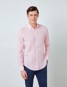 Men's Pink Linen Shirt With Button-Down Collar
