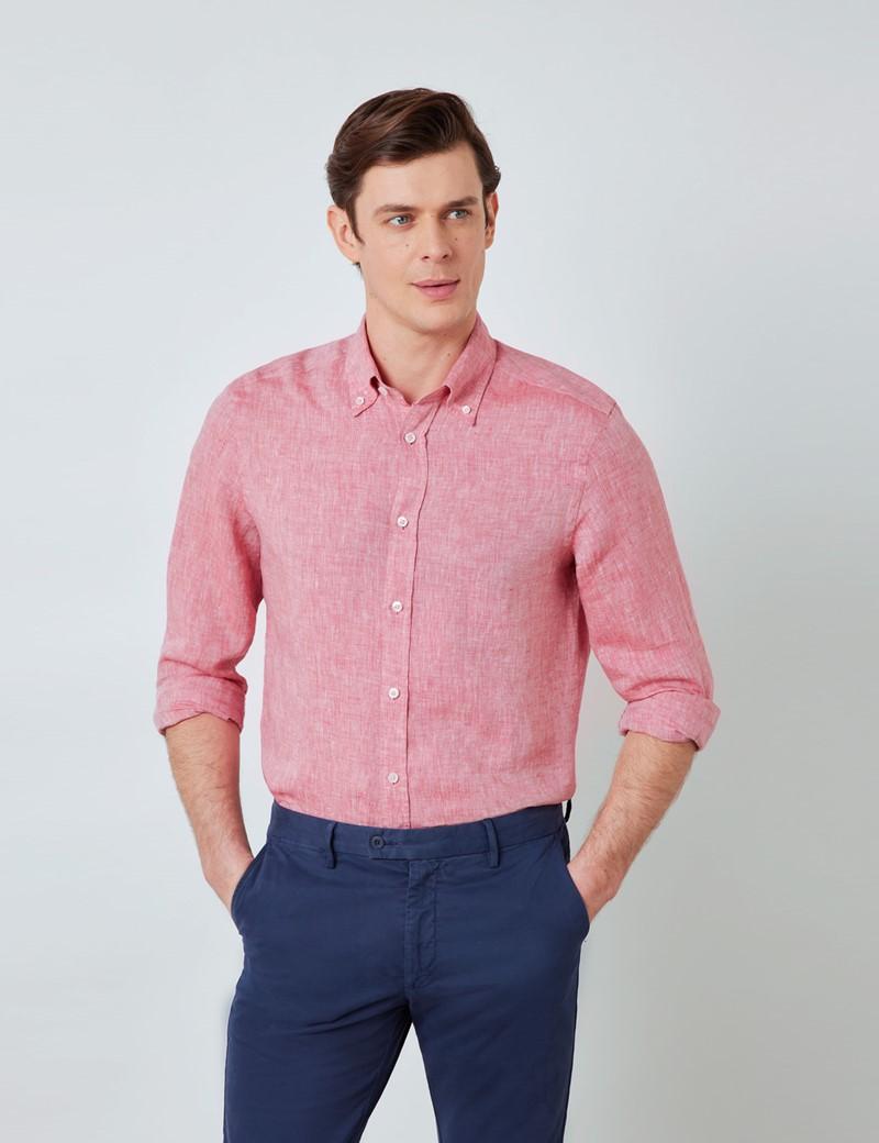 Men's Red Linen Shirt With Button-Down Collar