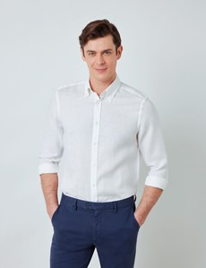 Men's White Linen Shirt With Button-Down Collar