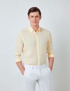 Men's Yellow Linen Shirt With Button-Down Collar
