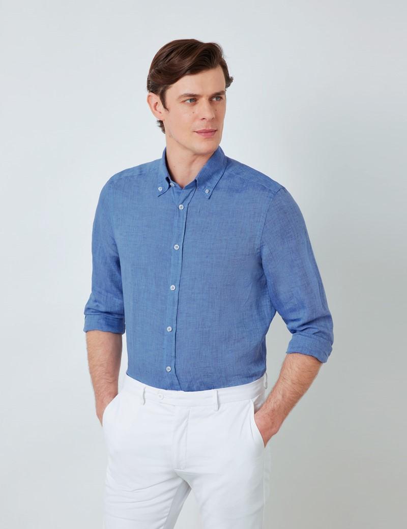 Men's Denim Linen Shirt With Button-Down Collar
