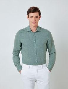 Men's Olive Linen Shirt With Full Cutaway Collar