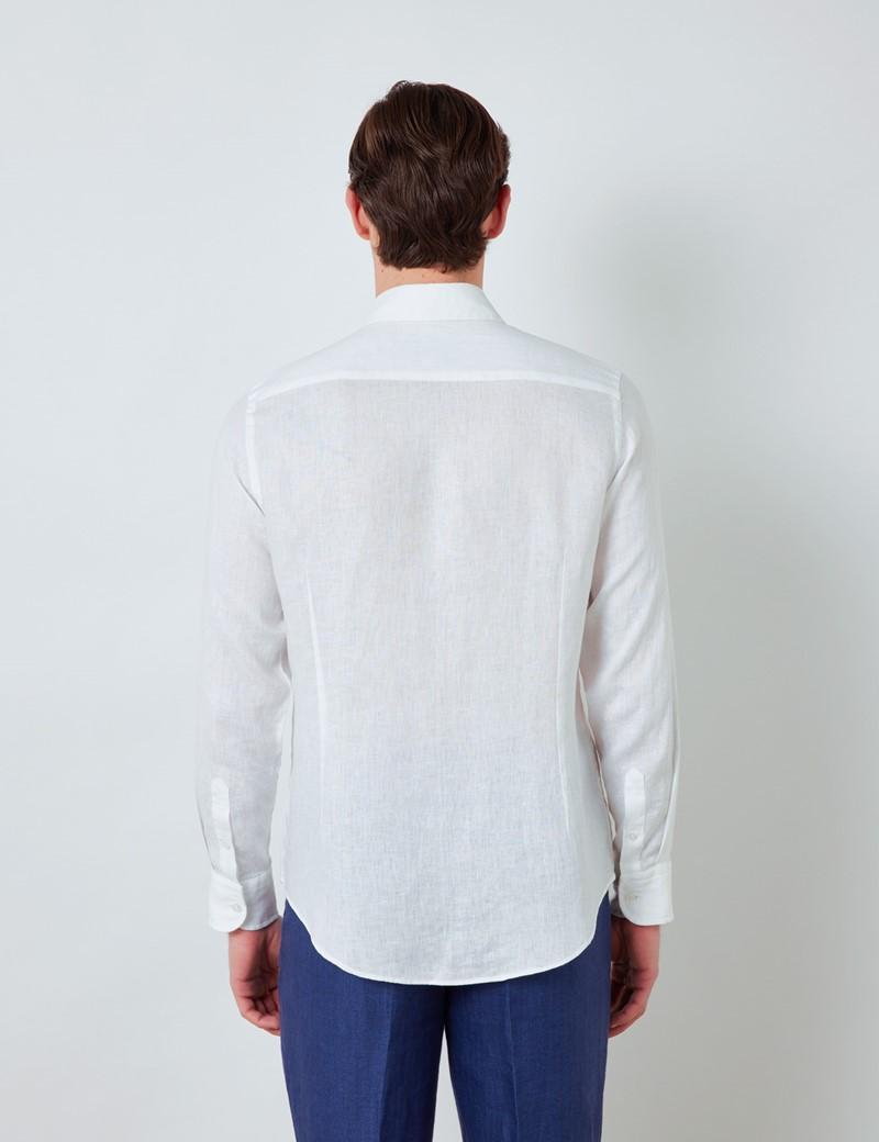 Men's White Linen Shirt With Full Cutaway Collar