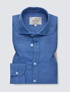 Men's Denim Linen Shirt With Full Cutaway Collar
