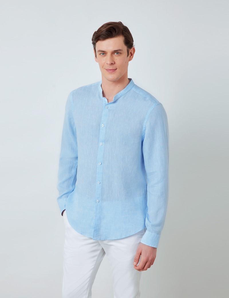 Men's Light Blue Collarless Linen Shirt