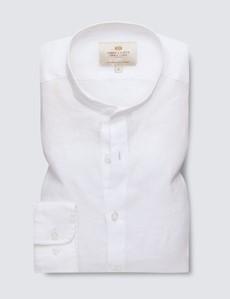 Men's White Collarless Linen Shirt