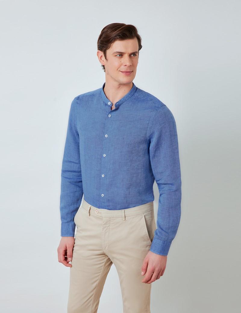 Men's Denim Collarless Linen Shirt