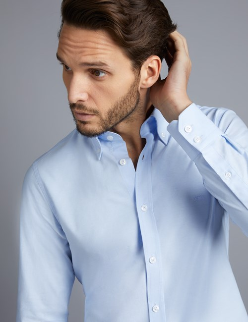 Men's Blue Slim Fit Sports Shirt - Single Cuff - Button Down