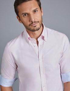 Men's Pink Oxford Slim Fit Shirt - Single Cuff - Button Down