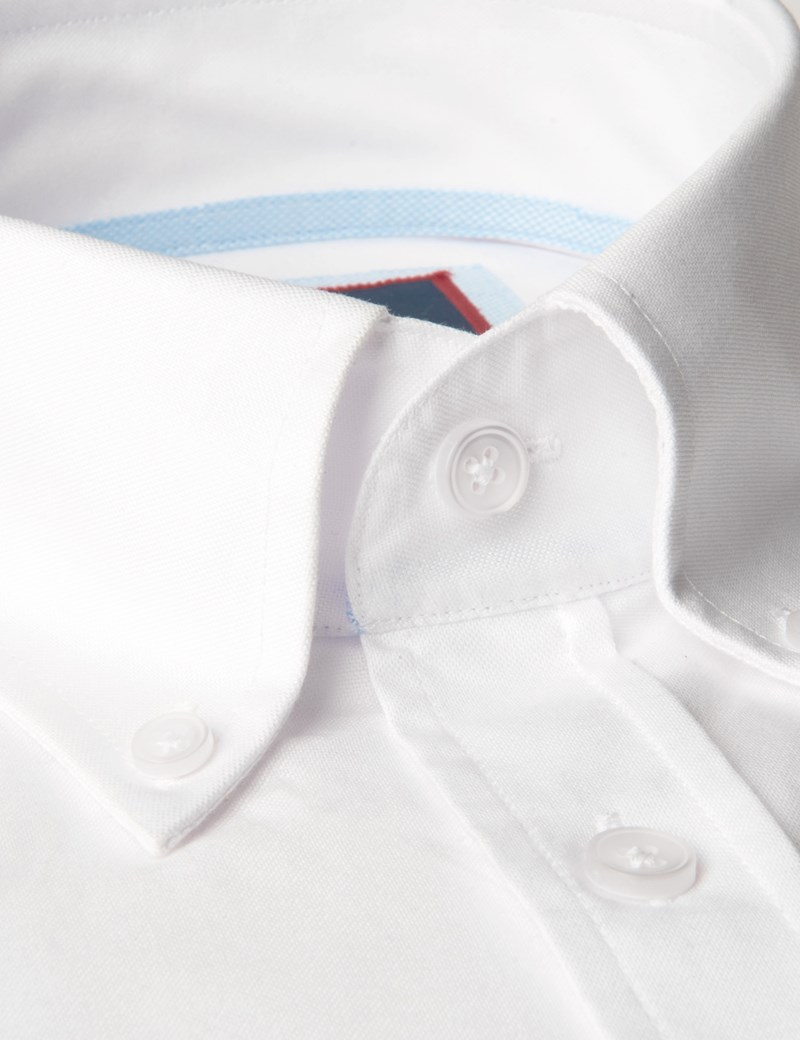 Men's White Oxford Slim Fit Shirt - Single Cuff - Button Down