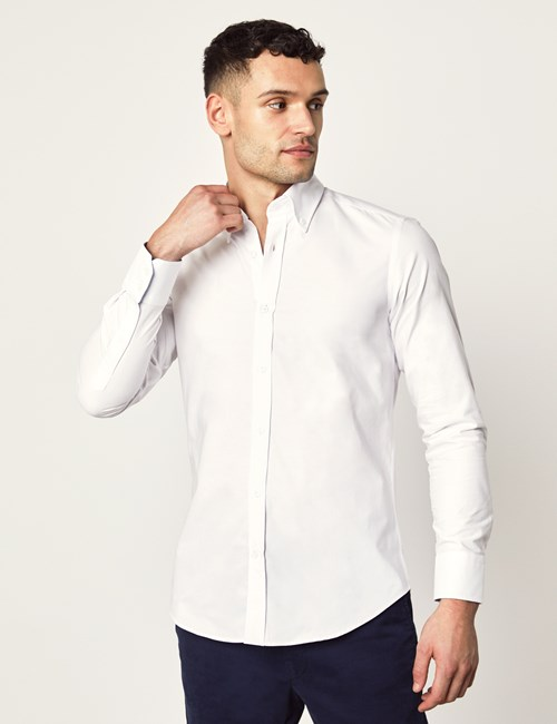 Oxford Hemd – Slim Fit – Button-Down – Baumwolle – Weiß mit Kontrasten