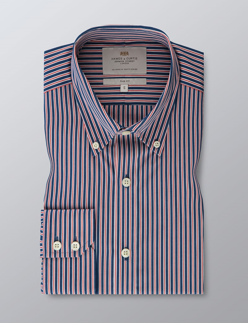 Men's Navy & Red Striped Slim Fit Button Down Shirt - Single Cuff