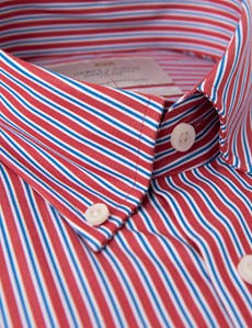 Men's Red & Navy Striped Slim Fit Button Down Shirt - Single Cuff