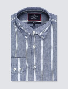 Men's Mid Blue & White Striped Slim Fit Linen Shirt  - Single Cuff