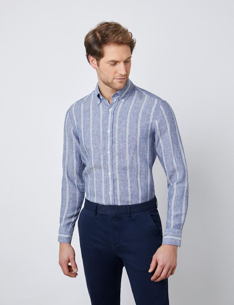 Men's Mid Blue & White Striped Slim Fit Linen Shirt  - Single Cuff