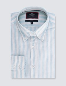 Men's Blue and White Stripe Slim Fit Linen Shirt - Single Cuff